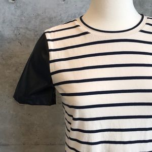 Jcrew Striped/Vegan Leather Top